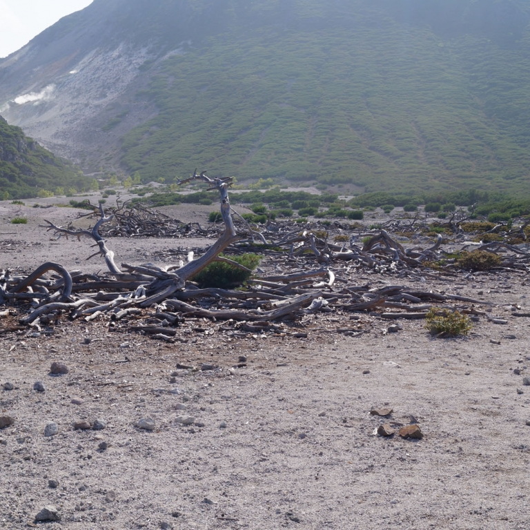 Безжизненные горы в районе серных источников; Хоккайдо