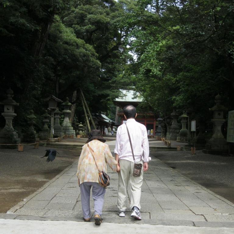 На аллее, ведущей к входу в Касима Дзингу; Ибараки